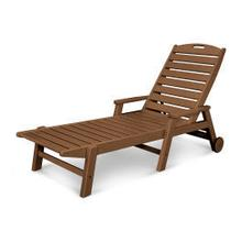 View Product - Nautical Chaise with Arms & Wheels in Teak