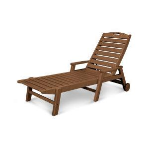Polywood Furnishings - Nautical Chaise with Arms & Wheels in Teak
