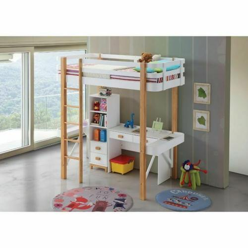 ACME Rutherford Loft Bed - 37970 - Scandinavian - Wood (Rbw), Veneer (LVL), MDF - White and Natural