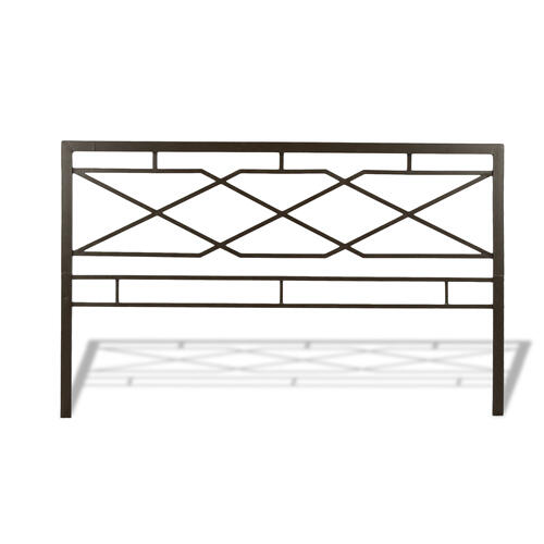 Fashion Bed Group - Alpine Metal SNAP Bed with Folding Frame Bedding Support System and Geometric Panel Design, Rustic Pewter Finish, Queen