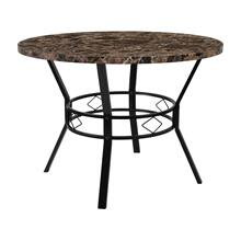 "42"" Round Dining Table in Espresso Marble-Like Finish"