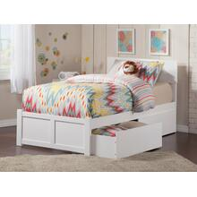 Orlando Twin XL Flat Panel Foot Board with 2 Urban Bed Drawers White