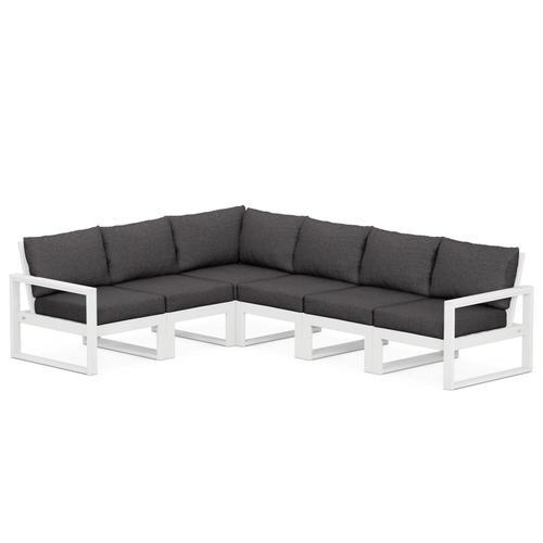 Polywood Furnishings - EDGE 6-Piece Modular Deep Seating Set in White / Ash Charcoal