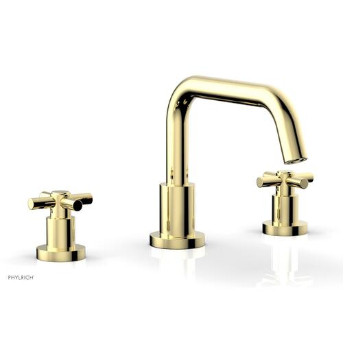 BASIC Deck Tub Set - Tubular Cross Handles D1136D - Polished Brass