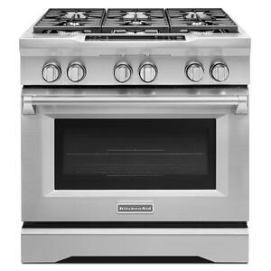Kitchenaid36'' 6-Burner Dual Fuel Freestanding Range, Commercial-Style Stainless Steel