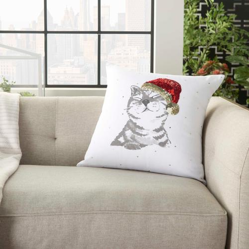 """Home for the Holiday Jb023 White 18"""" X 18"""" Throw Pillow"""