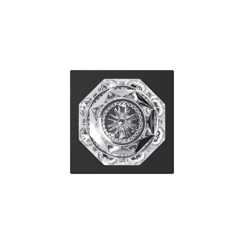 Custom Alexandria Glass Knob with Collins Trim Hall-Closet and Bed-Bath Lock - Matte Black