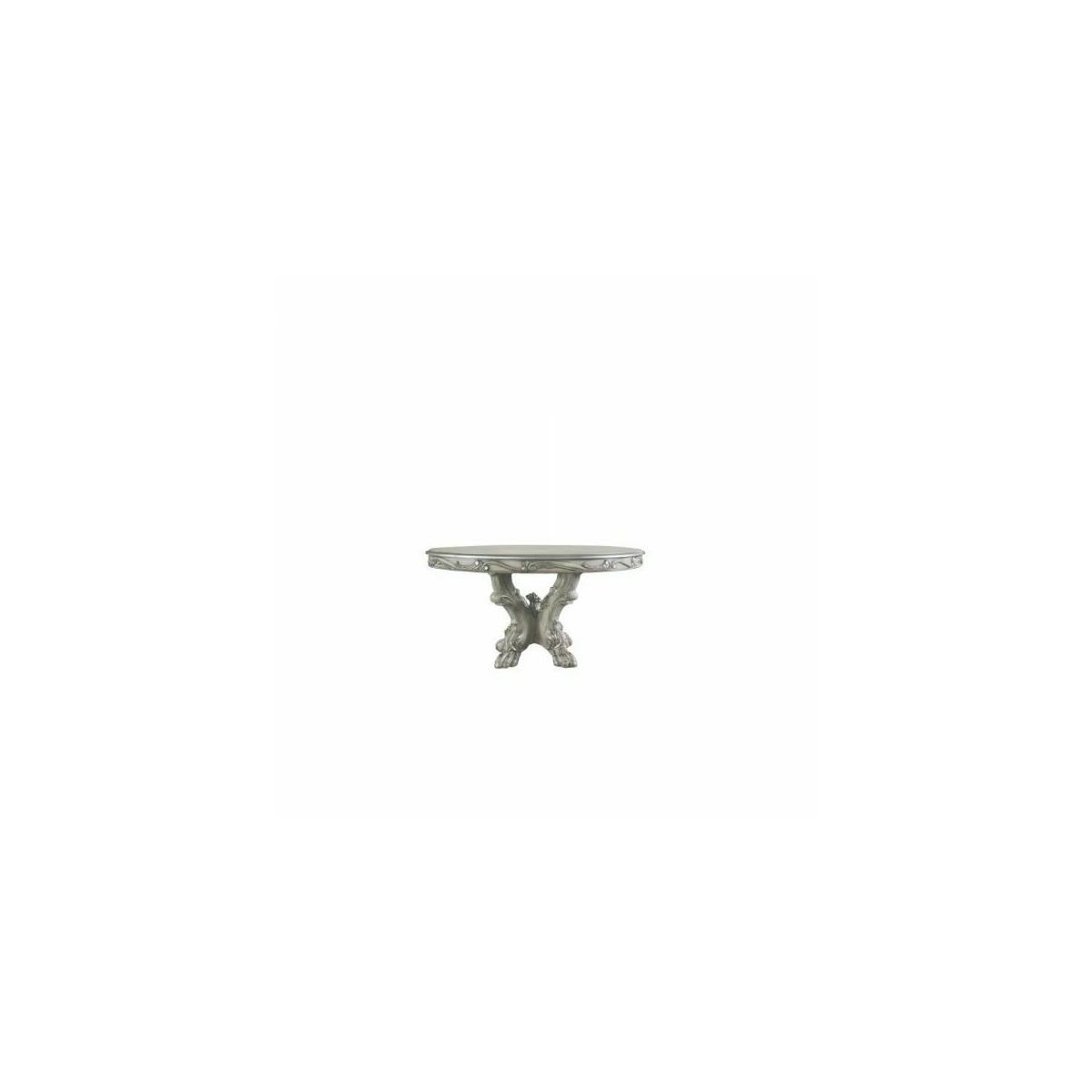 ACME Dresden Dining Table (Round) - 68180 - Traditional, Vintage - Wood (Poplar), Wood Veneer, Poly-Resin - Vintage Bone White