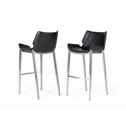VIG Furniture - Modrest Dave - Modern Black Eco-Leather Bar Stool (Set of 2)