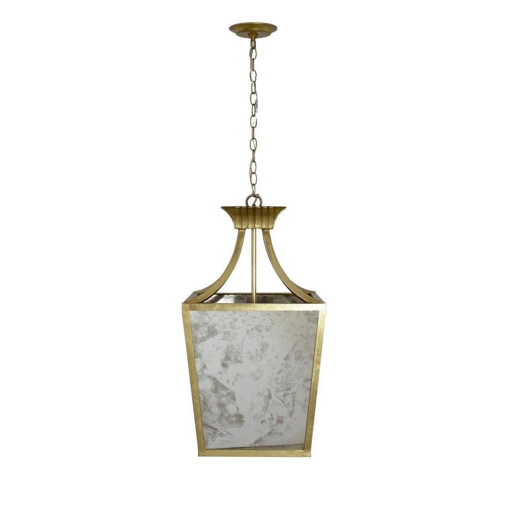 Add A Touch of Old Hollywood Glamour With the Alister Antique Mirror Lantern. Finished In Gold Leaf and With (3) Feet of Matching Chain, This Stunning Pendant Adds Sparkle To Any Room.