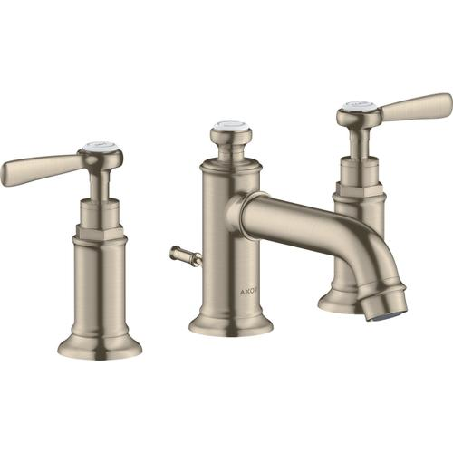 Brushed Nickel Widespread Faucet 30 with Lever Handles and Pop-Up Drain, 1.2 GPM