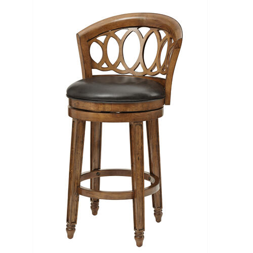 Adelyn Swivel Counter Height Stool, Brown Cherry