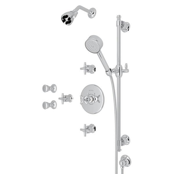 Polished Chrome ZEPHYR THERMOSTATIC SHOWER PACKAGE with Cross Handle Zephyr Series Only