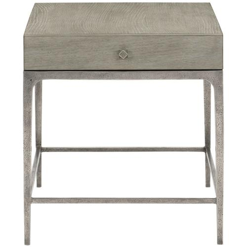 Linea End Table in Cerused Greige (384), Textured Graphite Metal (384)