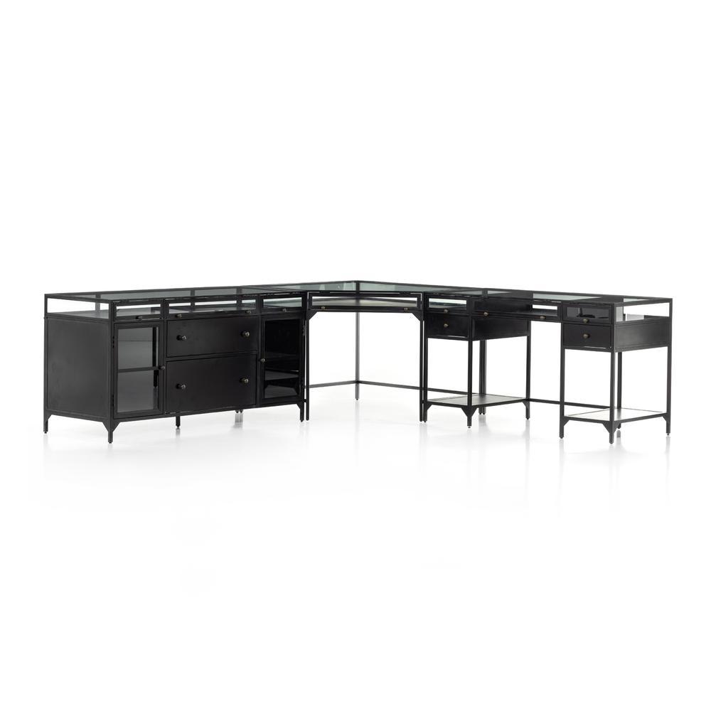 See Details - Black Finish Shadow Box Desk W/ Filing Credenza