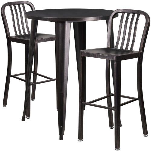 30'' Round Black-Antique Gold Metal Indoor-Outdoor Bar Table Set with 2 Vertical Slat Back Stools