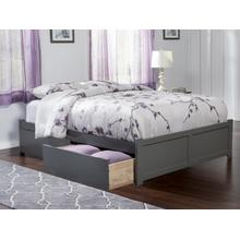 Concord Queen Flat Panel Foot Board with 2 Urban Bed Drawers Atlantic Grey