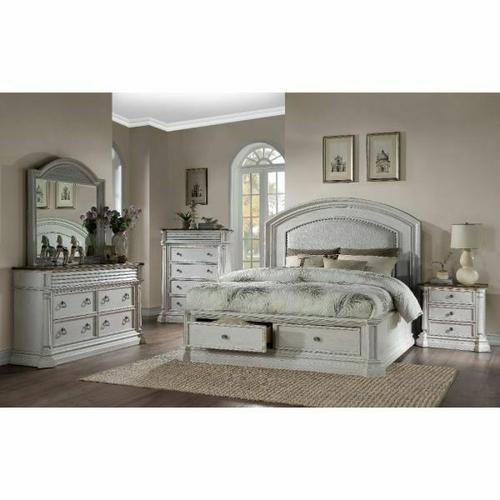 ACME York Shire Queen Bed (Storage) - 28270Q - Country-Cottage, Provincial - Fabric, Wood (Poplar), Wood Veneer (Hickory), MDF, PB, Foam - Fabric and Antique White