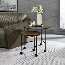 ACME Oblis 2Pc Pk Nesting Tables - 83150 - Industrial - Metal Tube (Iron), Paper Veneer (PU), PB - Vintage Oak