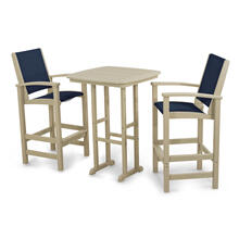 Sand & Navy Blue Coastal 3-Piece Bar Set