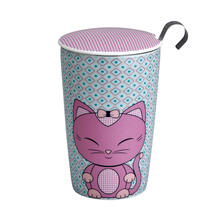 See Details - Eigenart Double Wall Porcelain Tea Cup Miss Miew Pinky Teaeve with Porcelain Lid and Stainless Steel Tea Strainer, 11.85 Oz