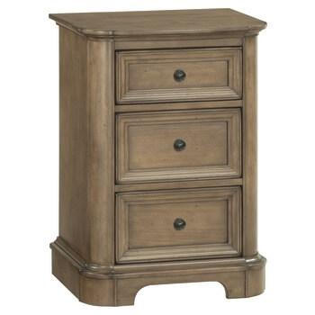 RGB Small 3Drawer Stonewood Nightstand Rustic Glazed Brown Finish