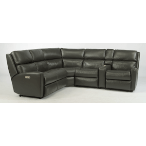 Catalina Leather Reclining Console Sectional