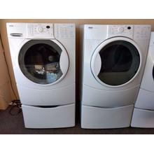 Refurbished Kenmore Elite White Front Load Washer Dryer Set On Pedestals. Please call store if you would like additional pictures. This set carries our 6 month warranty, MANUFACTURER WARRANTY AND REBATES ARE NOT VALID (Sold only as a set)