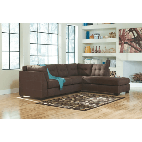 Maier - Walnut - 2-Piece Sectional with Right Facing Chaise and Full Sleeper