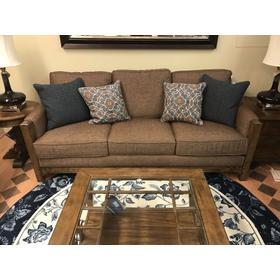 "Sonora Wood Frame Sofa 84""Wx41""Dx37""H  Fabric 324-70 Fudge with Antique Bronze Nailheads"