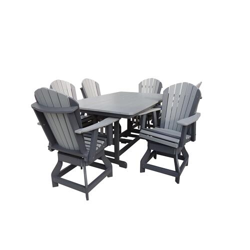 "44"" x 72"" Table W/6 Adirondack Swivel Chairs"