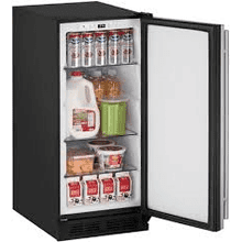 """IN WHSE"" MOD # U1215RS-00B-DS S/N 0007 ""DENT ON BACK"" STAINLESS 2.9 cu. ft. Built-in/Freestanding Compact Refrigerator with 3 Removable Tempered Glass Shelves, 57 Bottle or 92 Can Capacity, Digital Touch Pad ..."