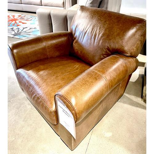 Soft Line - Italian Leather Swivel Chair in Chestnut