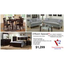 3 room Includes, queen bed, nightstand, dresser mirror,  sofa & loveseat, 3pc coffee table set,  table and four chairs