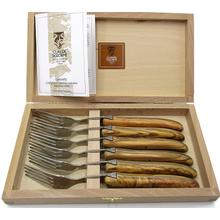 Claude Dozorme Stainless Steel 6-Piece Fork Set with Bee Olive Wood Handle