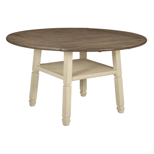 Bolanburg - Two-tone - 7 Pc. - Round Drop Leaf Counter Table & 6 Upholstered Barstools