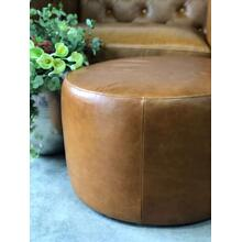 Spencer Round Leather Ottoman