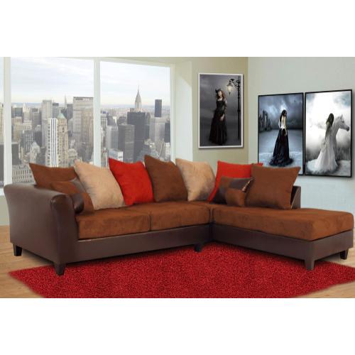 Kaylas Furniture - 100 Bi-Cast and Fabric Sectional Set - Multi-Color