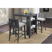 """See Details - Heston D5773-32-GRY 36"""" Storage Counter Table Set W/2 Chairs - Gray"""