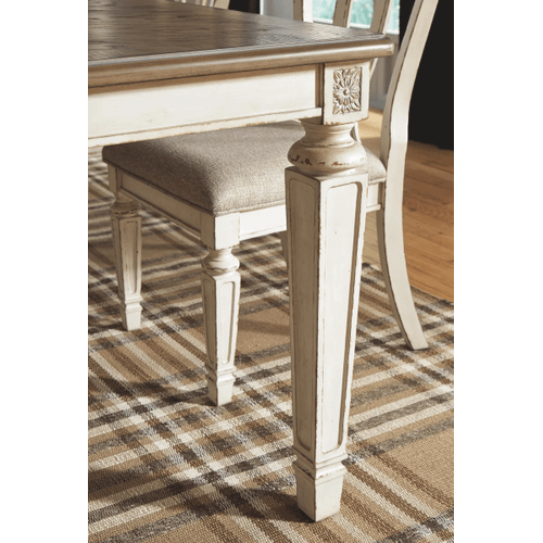 Realyn - Chipped White - 9 Pc. - Rectangular Extension Table & 8 Upholstered Side Chairs