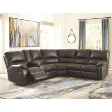 See Details - Warstein - Chocolate - 2 Power Recliner Plus 1 Manual Recliner Sectional with Left Console