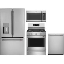 4 Piece Kitchen Appliances Package with French Door Refrigerator, Gas Range, Dishwasher and Over the Range Microwave in Stainless Steel