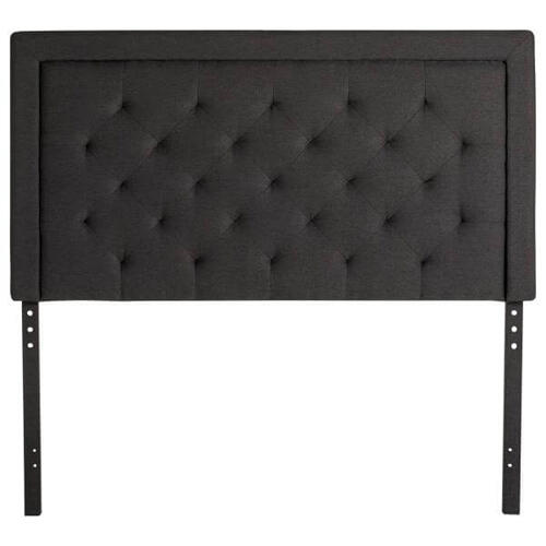 QUEEN RECTANGLE DIAMOND TUFTED UPHOLSTERED HEADBOARD CHARCOAL