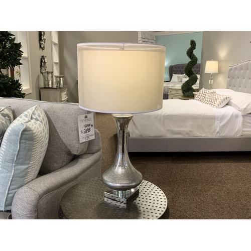 Tyndall Furniture & Mattress - Mercury Metallic Table Lamp with Drum Shade