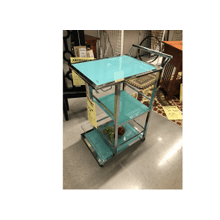 Kitchen Cart Turquoise Chrome