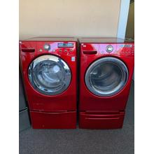 Refurbished Red Electric LG Washer Dryer Set on Pedestals. Please call store if you would like additional pictures. This set carries our 6 month warranty, MANUFACTURER WARRANTY AND REBATES ARE NOT VALID (Sold only as a set)