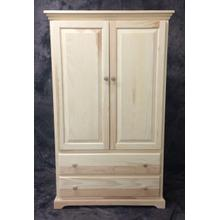 Maine Made 2 Drawer Armoire 38.5W x 60H x 20D Pine Unfinished