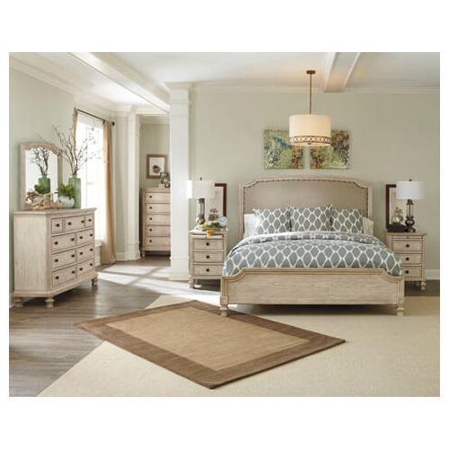 Ashley Furniture - Demarlos-Parchment White 4 PC Bedroom Set