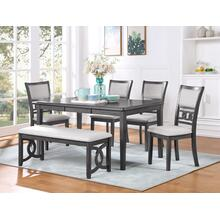 See Details - Gia 6 pc Regular Height Grey Dinette Set w/Padded Seats by New Classic, D1701-20