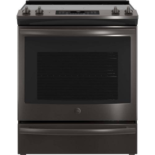 GE 5.3CF Black Stainless Steel Electric Smoothtop Convection Slide in Range with Self Clean
